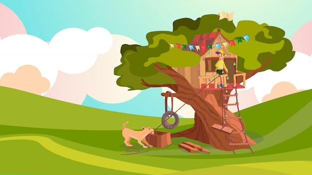 Cartoon boy build wood house on tree pet dog help Premium Vector