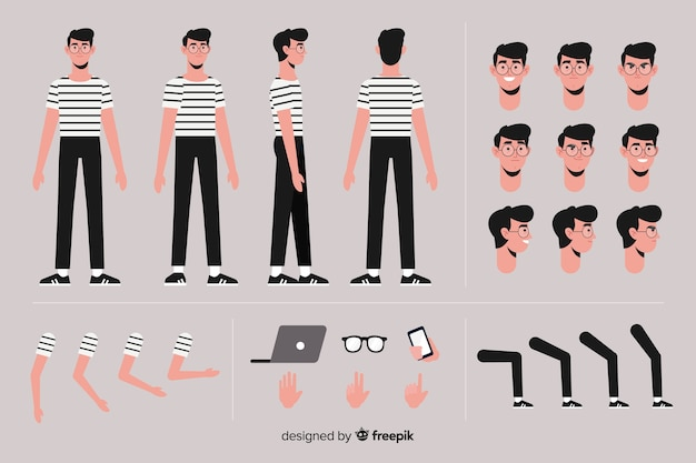 Cartoon boy character template Free Vector