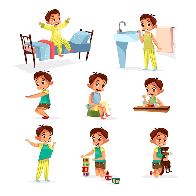 Cartoon boy daily routine activity set. male character wake up, stretch, brushing teeth Free Vector