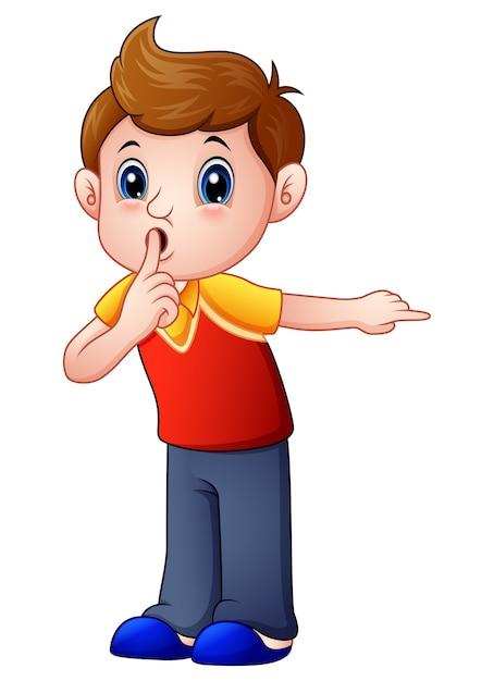 Cartoon boy gesturing for a silence Premium Vector