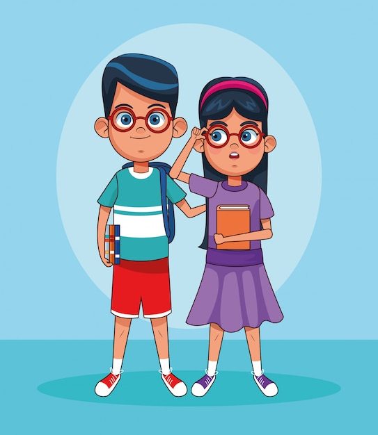 Cartoon boy and girl with glasses standing Premium Vector