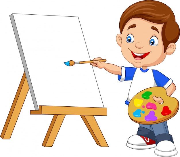 Мультфильм мальчик живопись Premium векторы