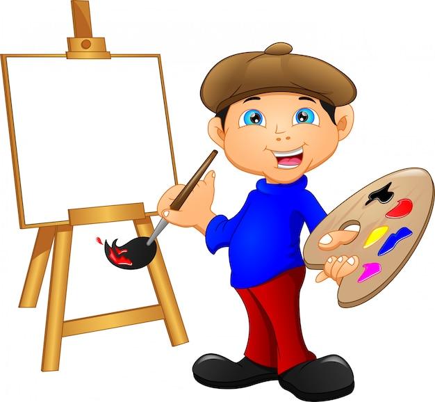 Cartoon boy painting Premium Vector