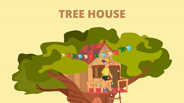 Cartoon boy play game in treehouse on garden tree Premium Vector