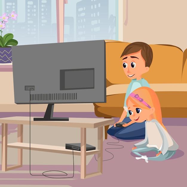 Cartoon boy play videogame sit on floor girl watch Premium Vector