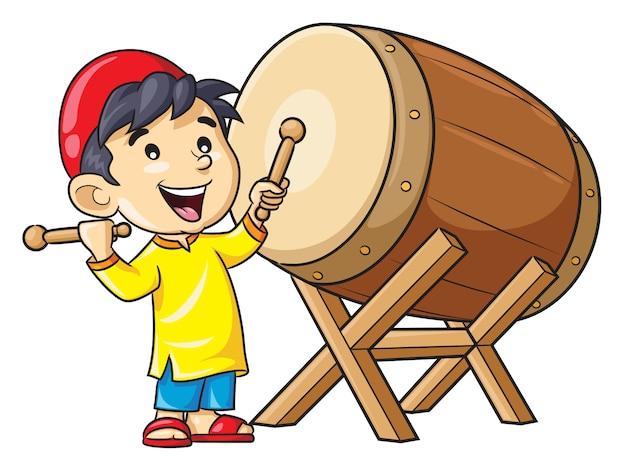 Мультяшный мальчик играет на барабане Premium векторы