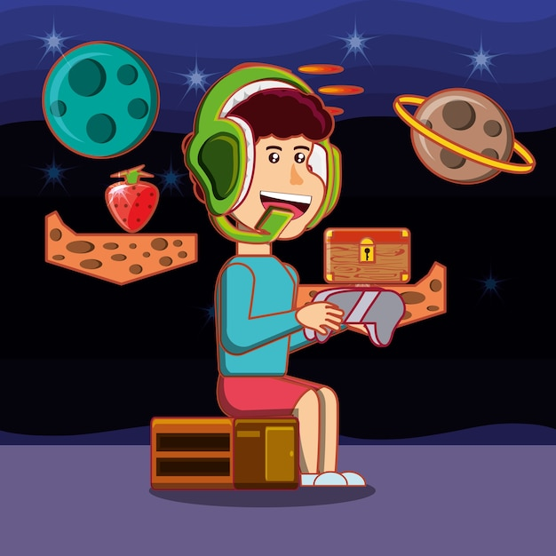 cartoon boy playing video games space background 24911 16592