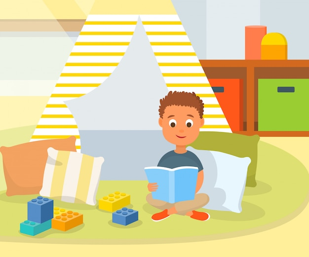 Cartoon boy reading book in play room at home Premium Vector