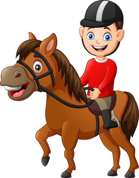 Premium Vector Cartoon Boy Riding Horse