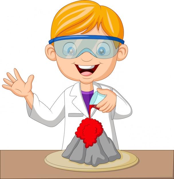 Cartoon boy scientist doing volcano experiment Premium Vector