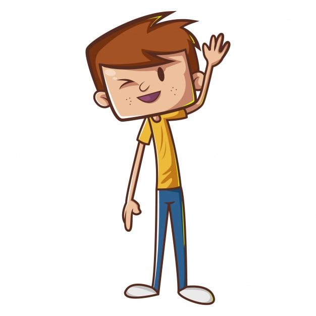 Cartoon boy in waving hand | Premium Vector