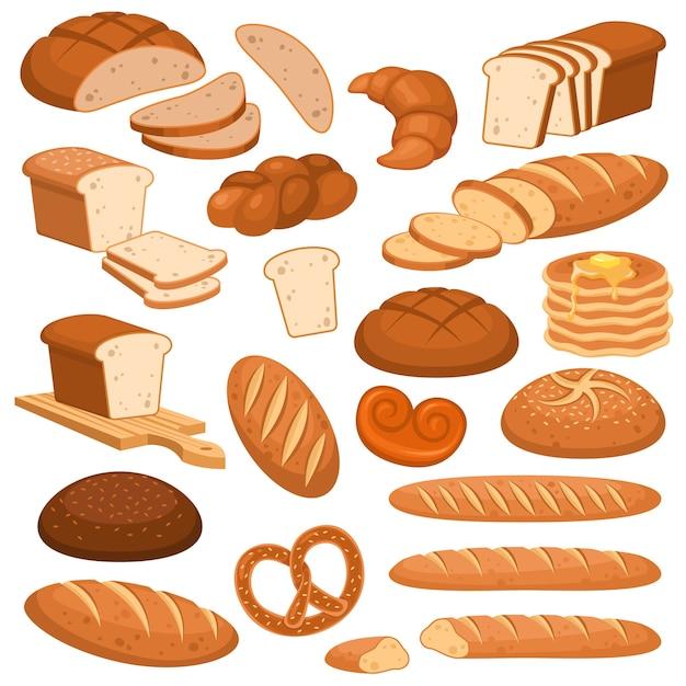 Мультяшный хлеб. хлебобулочные изделия из ржи, пшеничный и цельнозерновой нарезанный хлеб. французский багет, круассан и бублик, тосты меню караваи разнообразные булочки выпечка Premium векторы