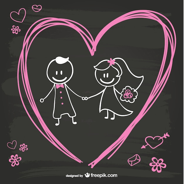 Cartoon bride and groom blackboard design Free Vector