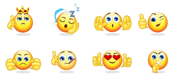 Cartoon bright emoticons collection with hand gestures and different emotions feelings and expressions isolated Free Vector