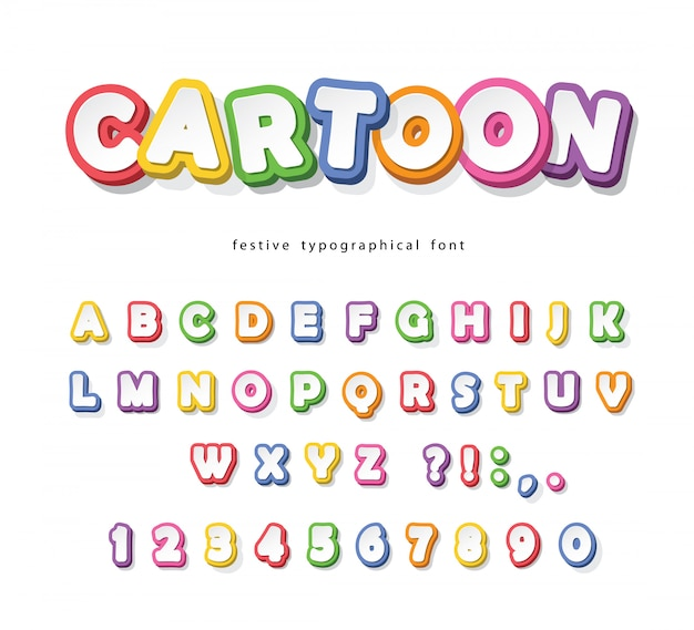 Cartoon bright font for kids. paper cut out colorful alphabet. Premium Vector