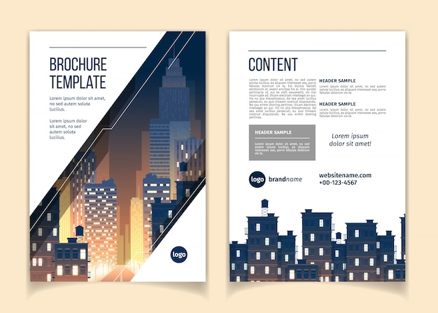 Cartoon brochure with cityscape at night, megapolis with modern buildings, skyscrapers Free Vector