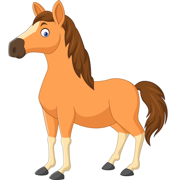 Cartoon brown horse isolated on white Premium Vector