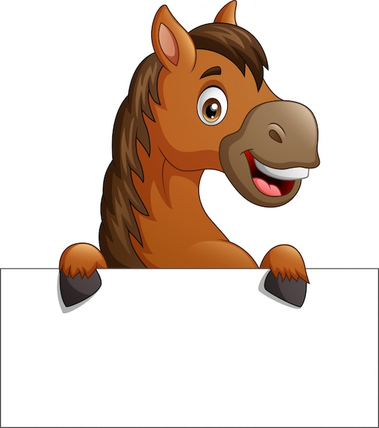 Cartoon brown horse with blank sign board Premium Vector