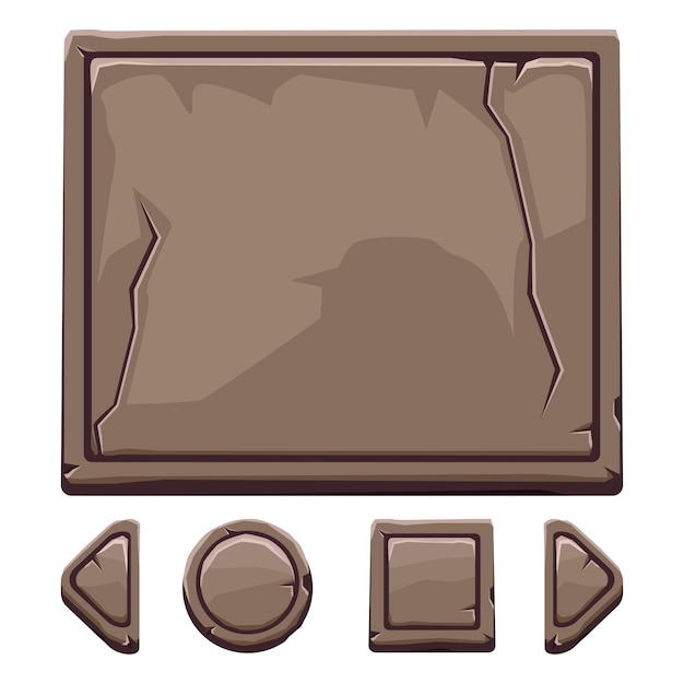 Cartoon brown stone assets and buttons for ui game Premium Vector