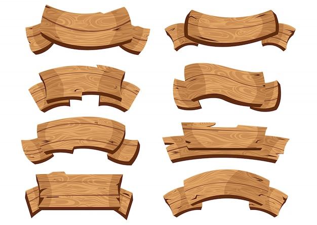Cartoon brown wooden plate and ribbons.  set Premium Vector