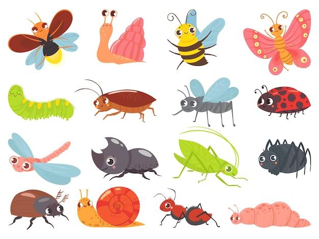 Мультяшные жуки. детское насекомое, забавный счастливый жук и милая божья коровка Бесплатные векторы