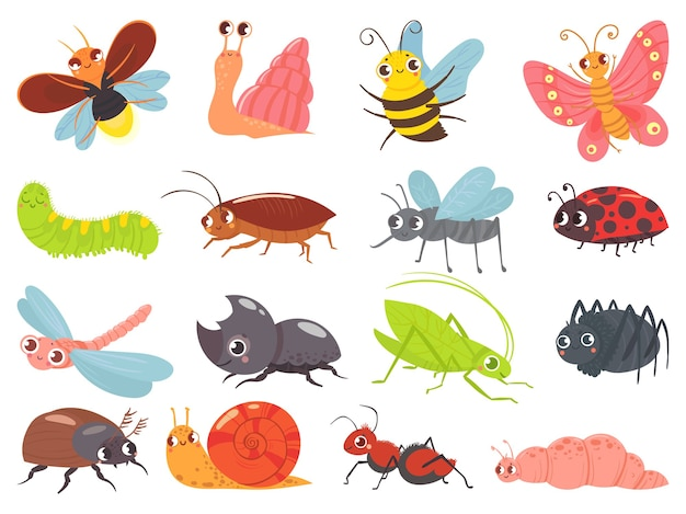 Cartoon bugs. baby insect, funny happy bug and cute ladybug Free Vector