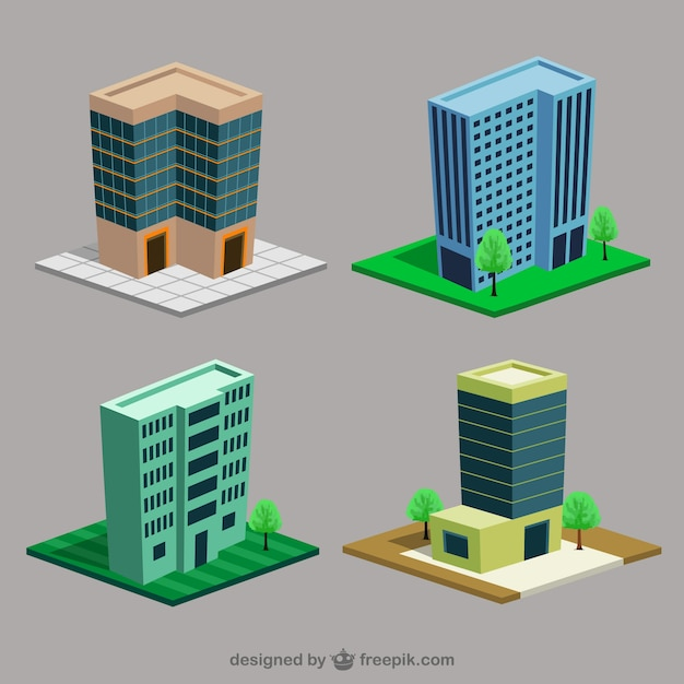 Cartoon Buildings Vector Free Download