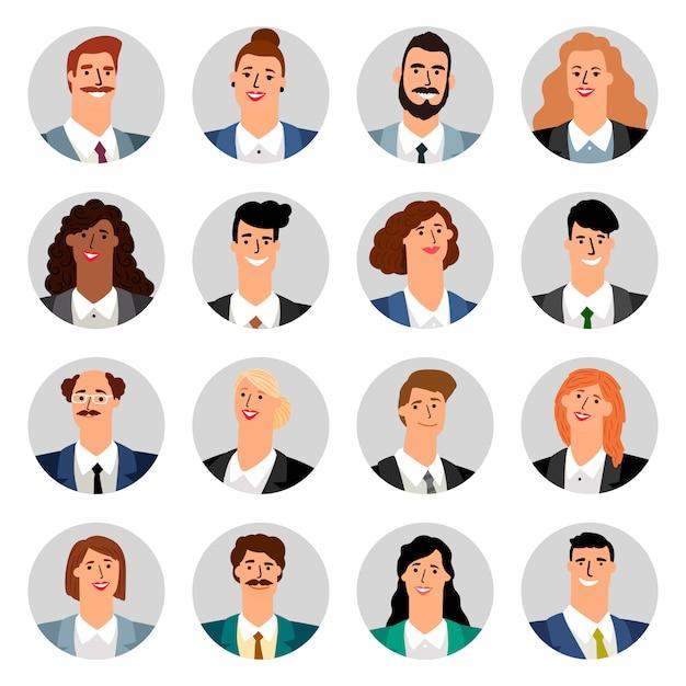 Cartoon business avatars Premium Vector
