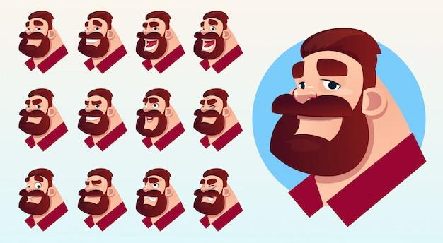 Cartoon business man profile icon different emotions set Premium Vector