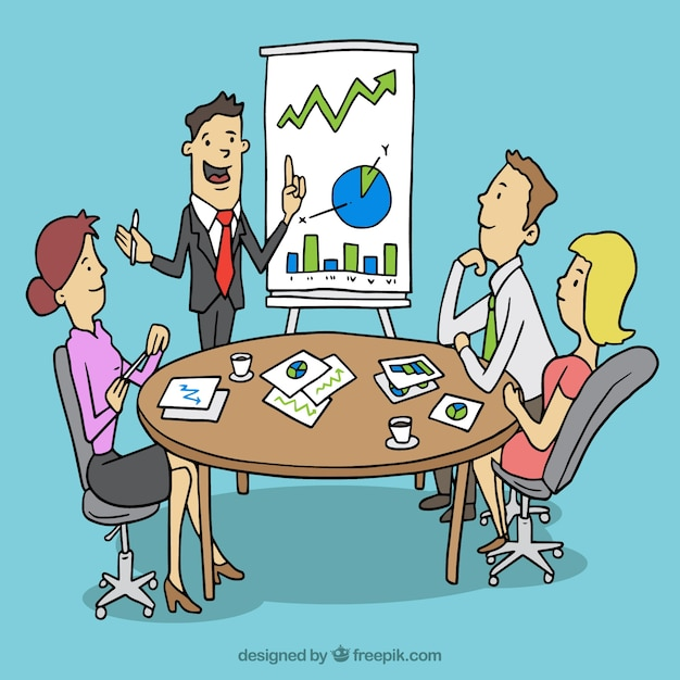 Executives in Business Meeting with Flipboard Cartoon ... |Business Meeting Cartoon Person