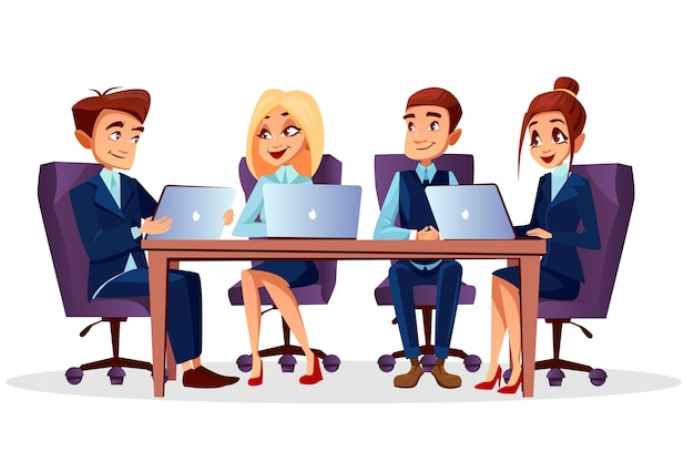 Cartoon business people sitting at desk with\ laptops communicating at brainstorming