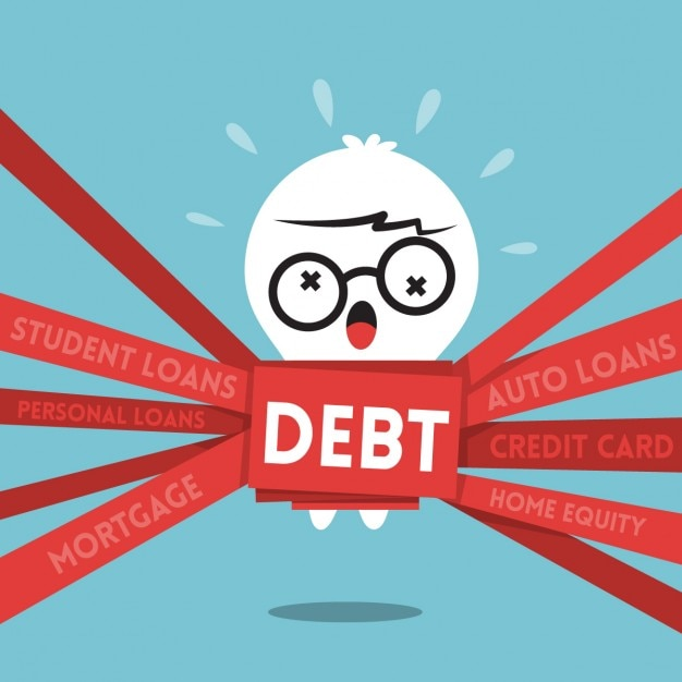 Cartoon of a business person with debts Free Vector