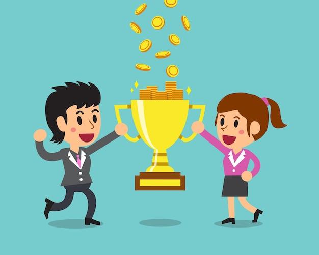 Мультфильм бизнес-команда зарабатывает деньги с трофеем Premium векторы