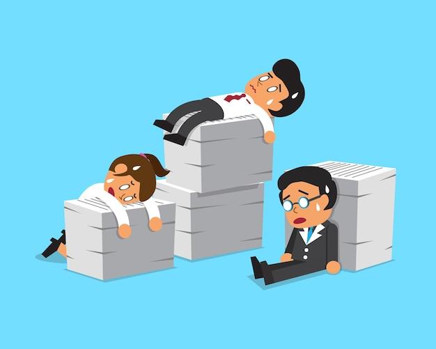 Мультфильм бизнес-команда с большим количеством работы Premium векторы