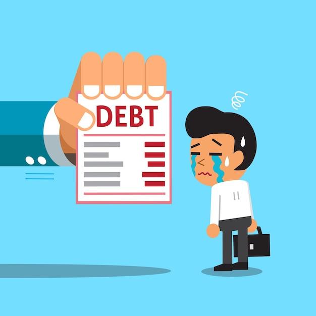 Мультфильм бизнесмен и долговое письмо Premium векторы