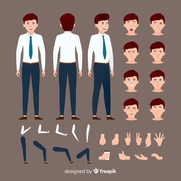 Cartoon businessman character template Free Vector