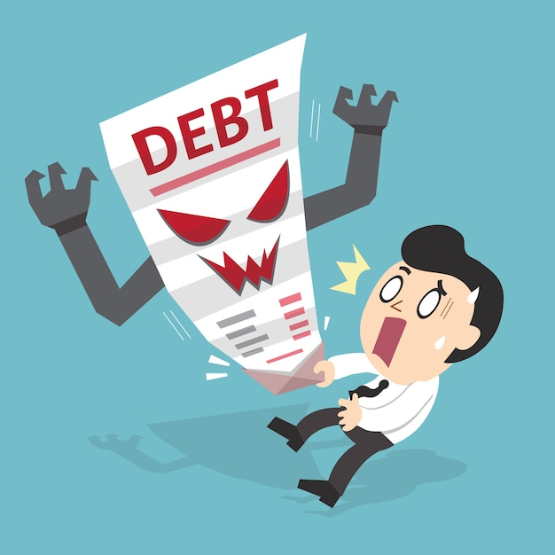 Cartoon businessman and debt letter Premium Vector