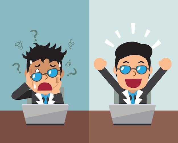 Мультфильм бизнесмен, выражающий разные эмоции Premium векторы