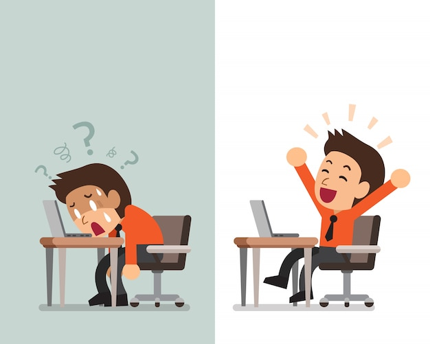Cartoon businessman expressing different emotions Premium Vector