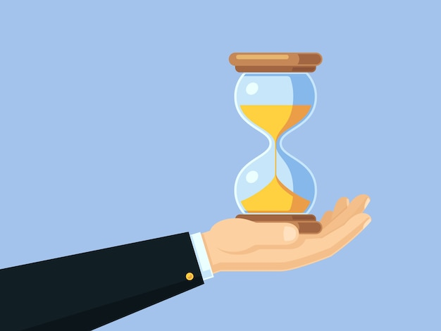 Cartoon Businessman Hand Holding Antique Hourglass Time Management Vector Business Concept With Sand Clock Premium Vector