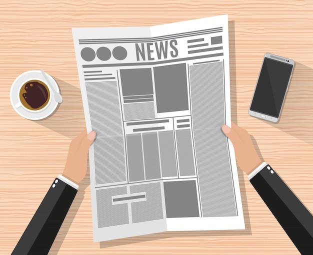 Мультфильм бизнесмен рука газета Premium векторы