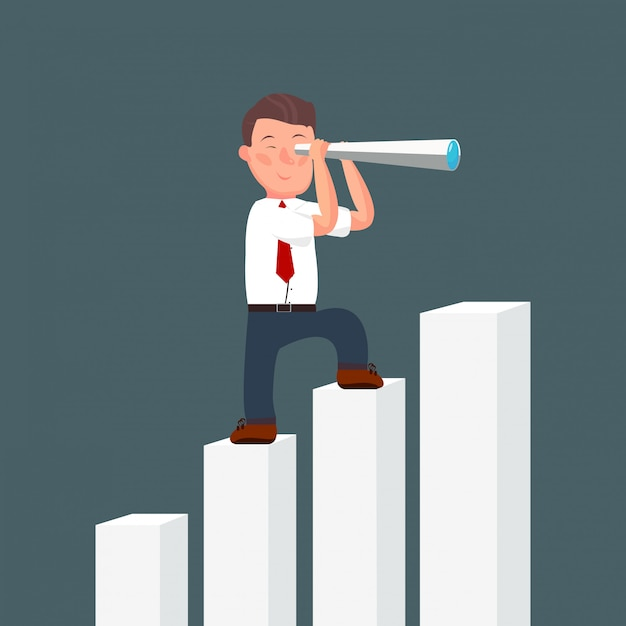 Cartoon businessman stand on top of rise diagram using telescope looking for success Premium Vector