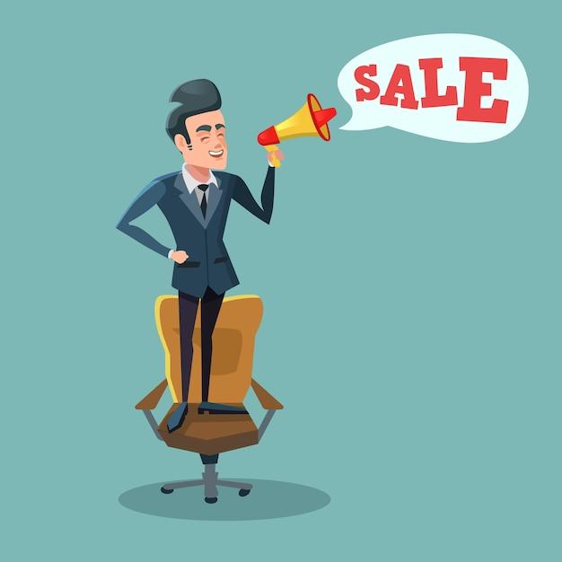 メガホンが付いているオフィスの椅子の上に立って、販売を促進する漫画実業家。大きな割引。 Premiumベクター
