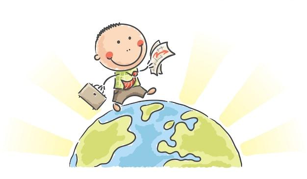 Cartoon businessman walking on earth Premium Vector