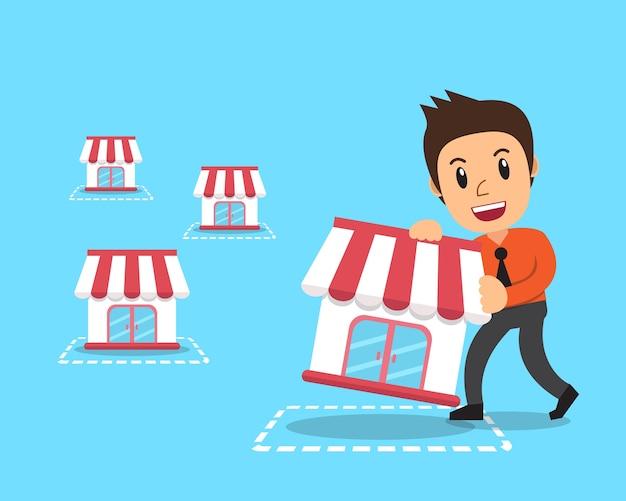 Cartoon businessman with franchise business Premium Vector