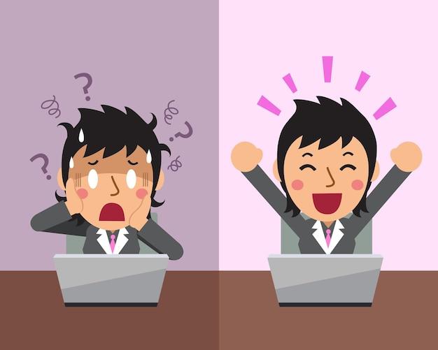 Мультфильм бизнесвумен, выражая разные эмоции Premium векторы