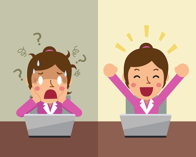 Cartoon businesswoman expressing different emotions Premium Vector