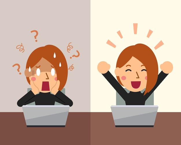 Cartoon businesswoman expressing different emotions Premium Vector