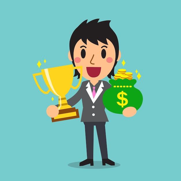 Мультяшная бизнес-леди держит мешок с трофеями и деньгами Premium векторы