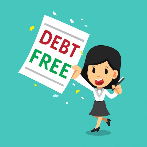 Premium Vector Cartoon Businesswoman With Debt Free Letter